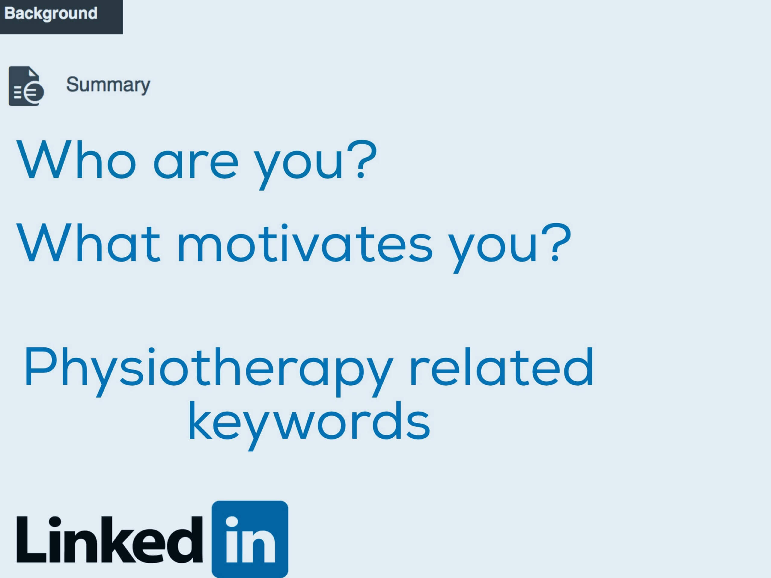 LinkedIn Summery Amsterdam physiotherapy